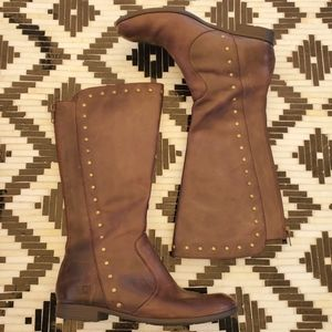 Born Leather Studded Tall Dark Brown Riding Boots